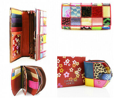 Ladies Multicolour Real Leather Patched Clutch Purse Wallet Long Card Holder