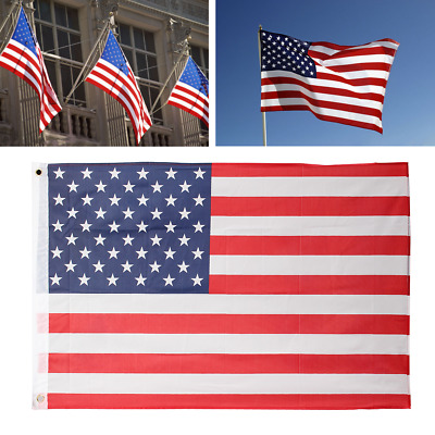 2'x3' FT USA US U.S. American Flag Polyester Nylon Stars Stripes Brass