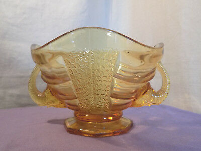 Vintage Amber Glass Bonbon dish or Fruit Bowl with Elephant Handles