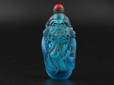 Noble CHINESE OLD COLORED GLAZE SNUFF BOTTLE Carved Bodhidharma BUDDHA STATUE
