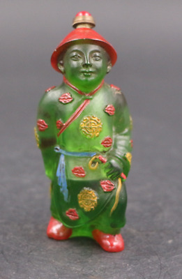 China rare old green Coloured glaze Qing Dynasty officials modeling snuff bottle
