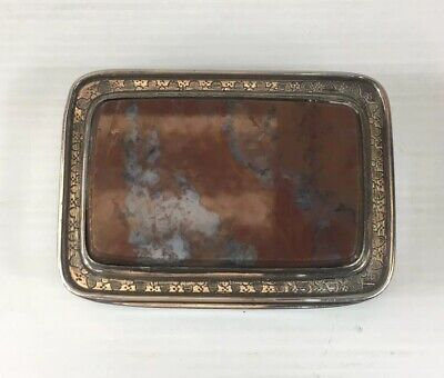 Fine Antique Georgian Solid Silver (tested) Mounted Agate Table Snuff Box 126g