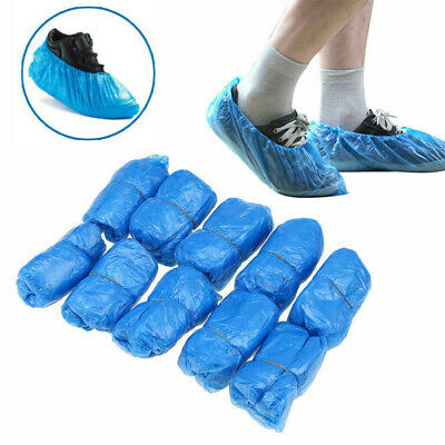 100 Disposable Shoe Cover Blue Durable Plastic Cleaning Overshoes Boot Safety