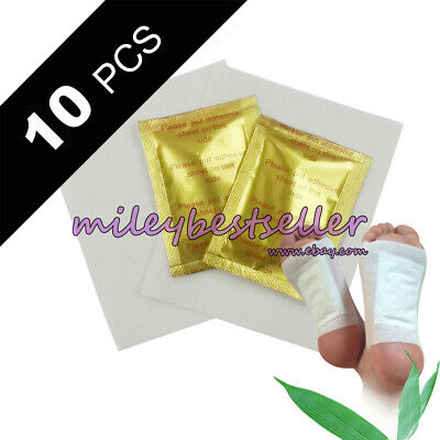 10pcs/lot GOLD Premium Detox Foot Pads Organic Herbal Cleansing Patches