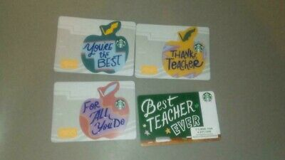 2019 Set of 4 Starbucks Cards BEST TEACHER EVER + 3 Die Cut