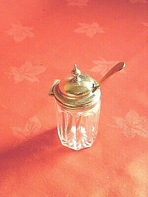Vintage Silver Plate & Glass Mustard Pot With Hinged Lid And Spoon