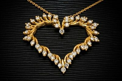 """1/4ct Round Diamond 14k Yellow Gold Over Silver Heart Pendant 18"""" Chain Necklace"""