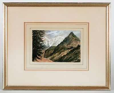 19th - early 20th Century European Watercolor Swiss Alps