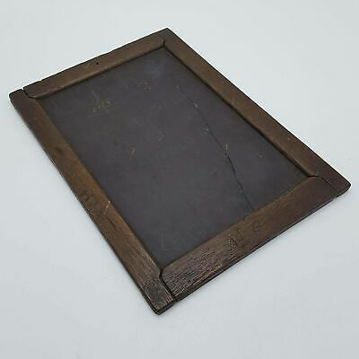 Vintage Antique Writing Slate Chalk Board with Dark Wooden Frame - Used