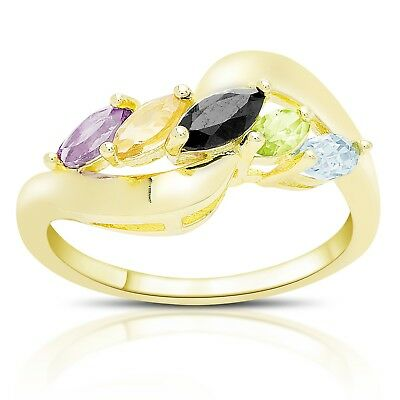 Amicable Multi Gemstone Set Of 3 Rings; 6-stone In Stainless Steel; Sz 9; 1.90 Ctw Gemstone