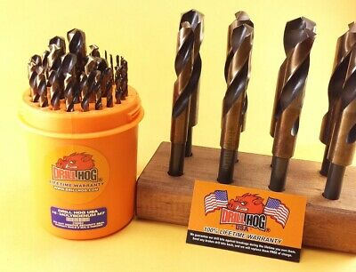Drill Hog® 37 Pc Silver Deming Drill Bit Set Jumbo Super M7+ Lifetime Warranty