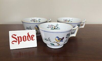 Spode QUEEN'S BIRD Imperial Ware Footed Cup London Shape ~ Set of 3