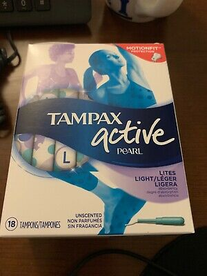 Tampax Pearl Active Tampons, Lites/Light Absorbency Unscented 18 Ct Total 8 Box