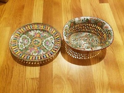 A Famille Rose (Medallion)reticulated chestnut basket and undertray.