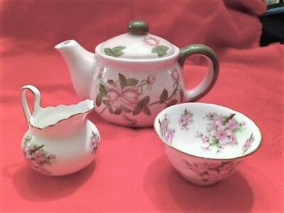 Royal Chelsea England fine bone china SUGAR, CREAMER set pink blossoms