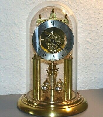 HALLER Rare Vintage glass dome mantle clock. Germany. Brass. Running. Large size