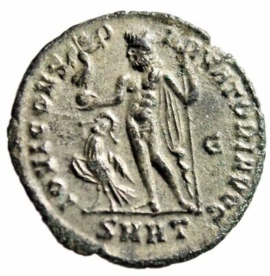 """Constantine I The Great Silvered AE Follis """"Jupiter, Eagle"""" Heraclea RIC 75 EF"""