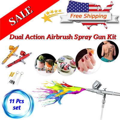 Dual Action Airbrush Spray Gun Kit For Nails Makeup Cake Decorating 0.2/0.3 mm