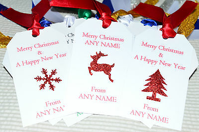 10x PERSONALISED RUSTIC VINTAGE CHRISTMAS GIFT TAGS LABEL STICKER TREE DECORATIO