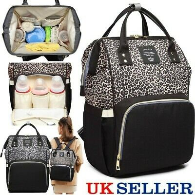 Large Mummy Changing Bags Leopard Backpack Baby Diaper Nappy Nursing Rucksack UK