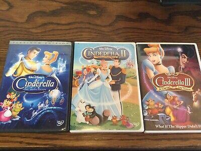 3 Disney CINDERELLA animated DVD Trilogy Lot: 1 2 3 - I II III