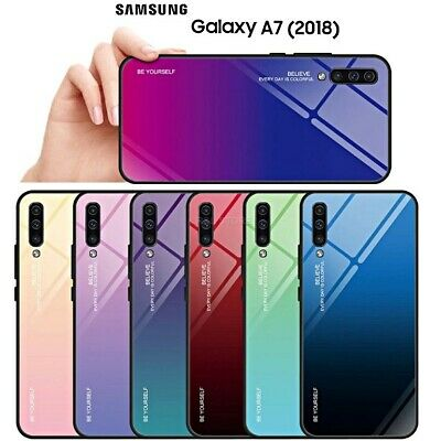 COVER per Samsung Galaxy A7 2018 Gradient Glass Case con RETRO VETRO TEMPERATO