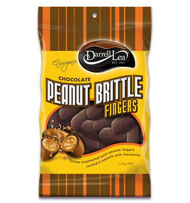 Darrell Lea Chocolate Peanut Brittle Fingers 135g x 18
