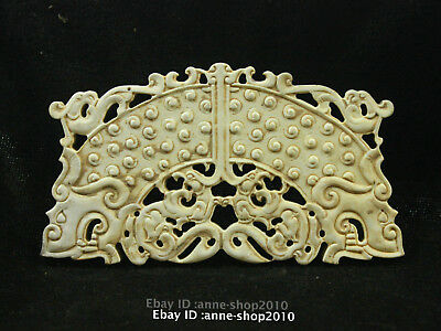 90mm China Hetian White Jade Pendant carved Necklace Dragon Phoenix Amulet AGGB
