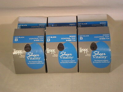 Lot Of 6 Leggs Pantyhose Sheer Vitality Size B Off Black                     SV3