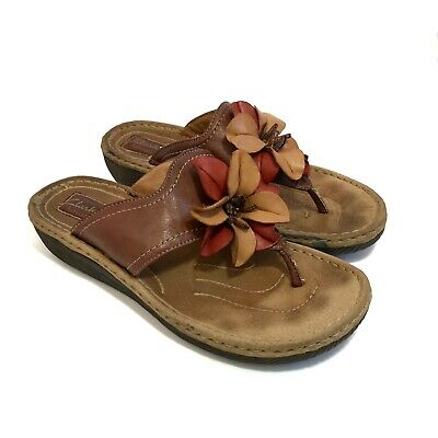 2126bcee6 CLARK S Artisan Women s Brown Leather Flower Thong Flip Flop Wedge Sandals  10