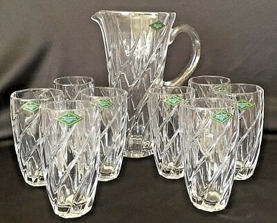 Shannon Crystal Pitcher  8 Crystal Highball Glasses Rare Crosswinds Pattern