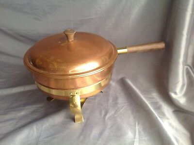 Brass & Copper Sterno Chafing Dish w Burner, 3 Legged Stand 5 Pieces Italy
