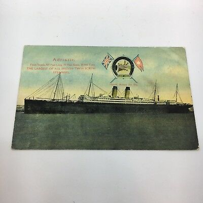 Vintage Boat Ship White Star Adriatic Postcard Old Card PC SS RMS Titanic Line