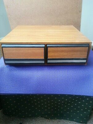 Vintage Wood Grain Vhs Storage Drawer Container Case 24 Tapes