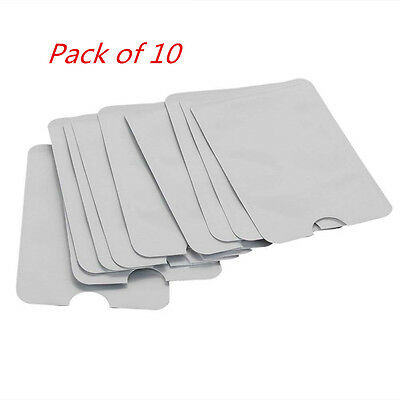 Pack of 10 Card ID Anti Theft RFID Blocking Sleeve Shield Protector