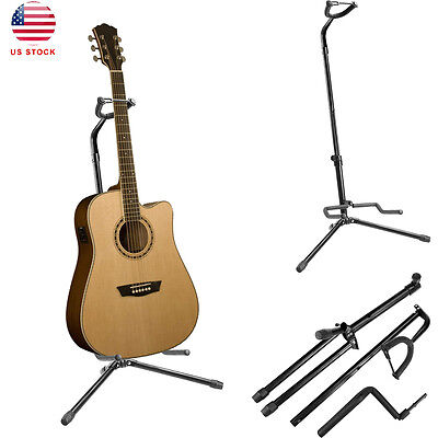 1pc Adjustable Electric Acoustic Bass Guitar Stand Floor Rack Holder Black USA
