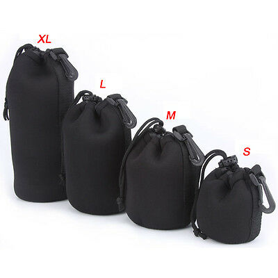4PCs Waterproof DSLR SLR Camera Lens Pouch Case Bag Cover Padded Protector New