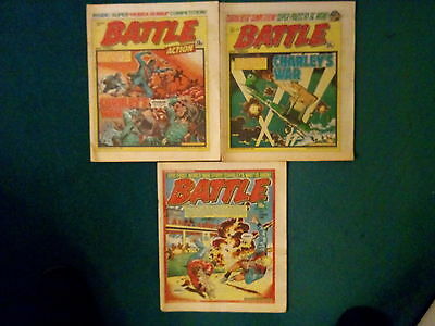 3 OFF BATTLE ACTION COMICS 7th MAR'81, 19th SEPT'81, AND 2nd OCT'82