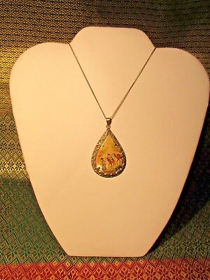 Antique Vtg. Mother of Pearl Persian Scene of Men and Camels Pendant Necklace