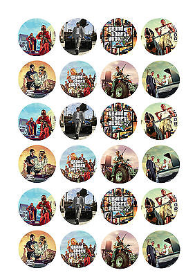24 x GTA Grand Theft Auto 5 Cup Cake Toppers ICING