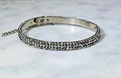 Antique Georgian Victorian Three-Row Cut Steel Thin Bangle Bracelet Safety Chain