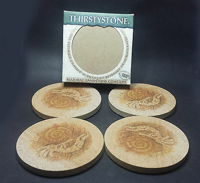 Set of 4 Thirstystone Coasters (sandstone coasters with natural cork backing)