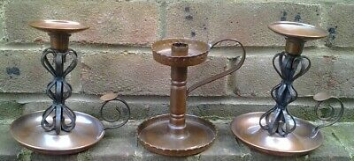 Fine Pair Of Villedieu French  Copper Arts And Crafts Candlesticks Plus One Othe
