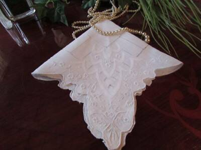 Exceptional Hand Embroidered Butterfli Vintage Lawn Hankie Wedding Something Old