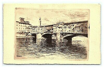 Vintage Postcard Etching Ponte Vecchio Florence Italy Havas Signed J1