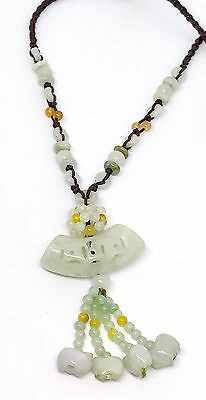 ESTATE CHINESE Antique CARVED GREEN JADE BROWN KNOTTED LARIAT NECKLACE PENDANT
