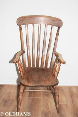 Superb Antique Elm and Oak Country High Back Elbow Armchair