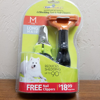 FURminator DeShedding Tool for Medium Dogs(21-50 lbs)  with LONG Hair + Clippers
