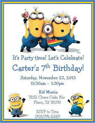 12 Printed Custom Despicable Me Minions Invitations With Envelopes Style 4