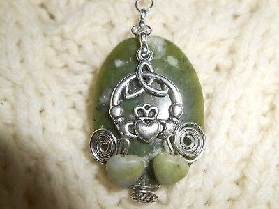 Celtic Irish Claddagh New Grange Connemara Double Heart Necklace